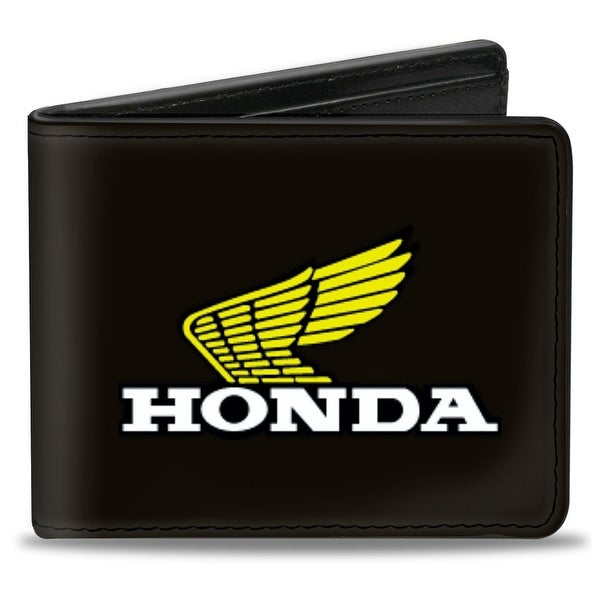 Honda Motorcycle Black Yellow White Bi Fold Wallet - One Size Fits most