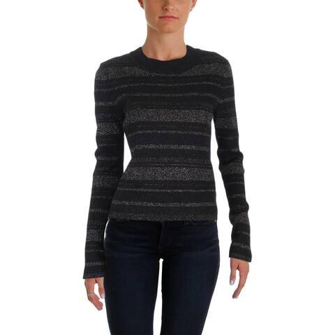 Aqua Womens Crop Sweater Metallic Striped