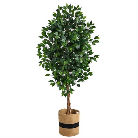 6' Ficus Artificial Tree with Natural Trunk in Handmade Natural Cotton Planter