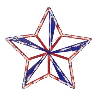"""15"""" Lighted Red, White and Blue 4th of July Star Window Silhouette Decoration - Red"""