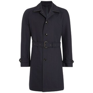 HARDY AMIES Navy Blue Cotton Belted Trench Coat 40 Regular 40R $695