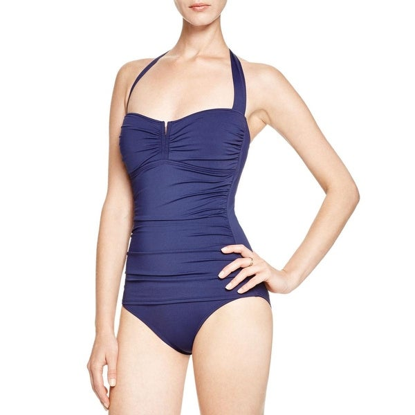 Tommy Bahama Womens Shirred Halter One-Piece Swimsuit