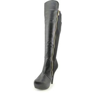 Qupid Task-48 Women Round Toe Synthetic Black Knee High Boot