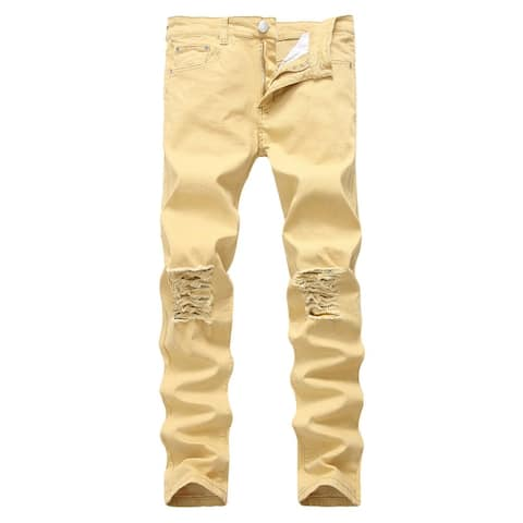 Stretch Destroyed Ripped Black Jeans Pant