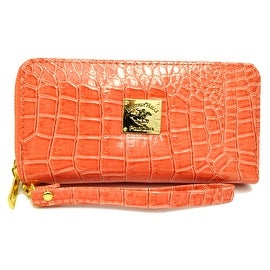 Beverly Hills Double Zip Wristlet Clutch Wallet Crocodile Leather Pattern