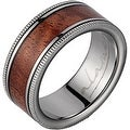 Titanium Wedding Band With Koa Wood Inlay & Coined Edges 8mm - Thumbnail 0