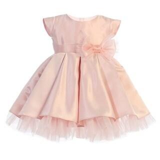 Baby Girls Pink Full Pleated Satin Bow Flower Girl Dress