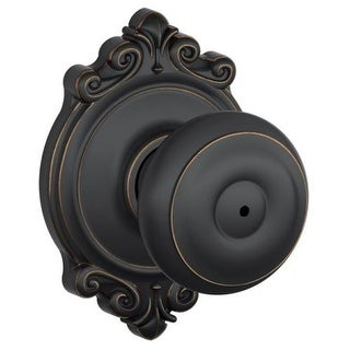 Schlage F40-GEO-BRK Privacy Georgian Door Knobset with the Decorative Brookshire Rose