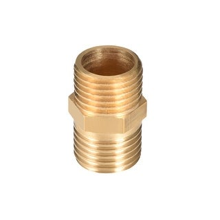 "Brass Pipe Fitting, Hex Nipple, 1/4"" x 1/4"" G Male Thread Pipe Brass Fitting - 1/4"" G Male"