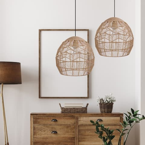 """Charlotte River of Goods Metal and Woven Hemp Rope Hanging Pendant Light - 15.5"""" x 15.5"""" x 15.75/62.75"""""""