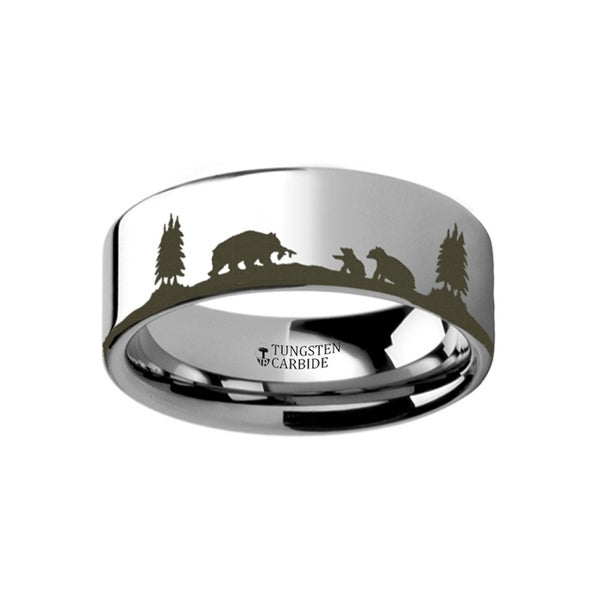 THORSTEN - Animal Landscape Scene Bears Bear Cubs Ring Engraved Flat Tungsten Ring - 10mm