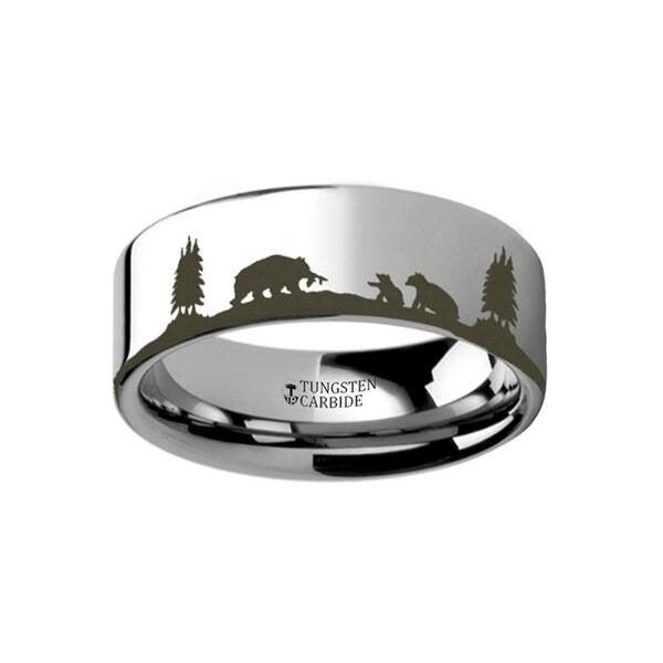 THORSTEN - Animal Landscape Scene Bears Bear Cubs Ring Engraved Flat Tungsten Ring - 4mm