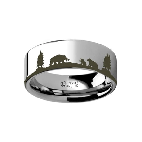 THORSTEN - Animal Landscape Scene Bears Bear Cubs Ring Engraved Flat Tungsten Ring - 6mm
