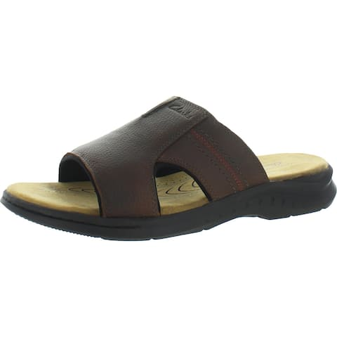 Clarks Hapsford Slide Men's Tumbled Leather Casual Slip On Sandals - Brown Tumb