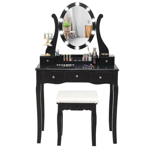 Touch Switch Makeup Dressing Vanity Table Set With 10 Light Bulbs Overstock 30089656
