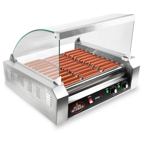 Electric 30 Hot Dog 11 Roller Grill Cooker Machine 1200-Watt w/ Cover