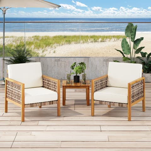 Joliet Outdoor Acacia Wood Club Chair with Wicker Accents (Set of 2) by Christopher Knight Home
