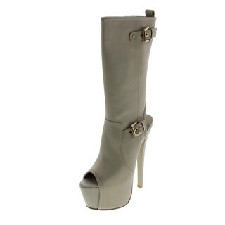 N.Y.L.A. Womens Reva Leather Cut-Out Booties
