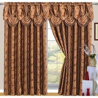Raven Jacquard 2-Pack Rod Pocket Panel with Attached Valance and Backing, Coffee, 110x84 Inches - 55x84