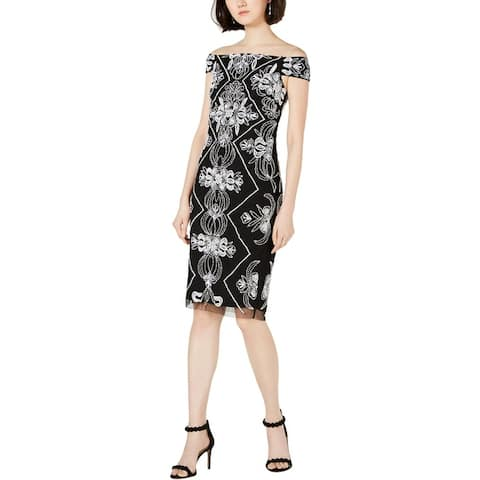 Adrianna Papell Womens Party Dress Beaded Off-The-Shoulder - Black White