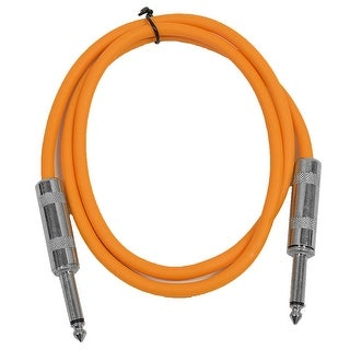 "SEISMIC AUDIO - Orange 1/4"" TS 2' Patch Cable - Effects - Guitar - Instrument"