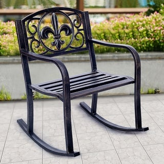 Costway Patio Metal Rocking Chair Porch Seat Deck Outdoor Backyard Glider Rocker