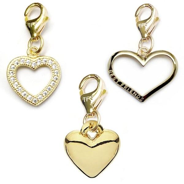 Julieta Jewelry Heart, CZ Heart, Best Friend Heart 14k Gold Over Sterling Silver Clip-On Charm Set