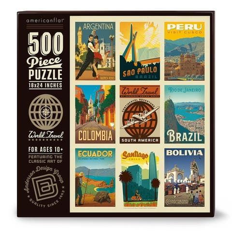 Americanflat 500 Piece Jigsaw Puzzle, 18x24 Inches, World Travel South America Art by Anderson Design Group - 18 x 24