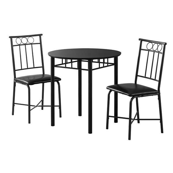 Monarch Specialties I 1013 Three Piece Metal Dining Table Set Black