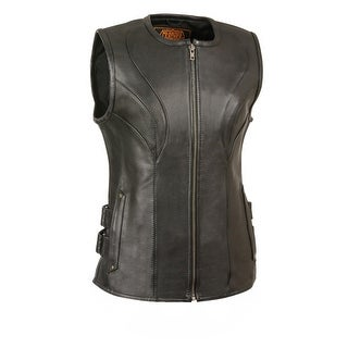 Womens Black Leather Biker Vest With Hook and Loop Straps