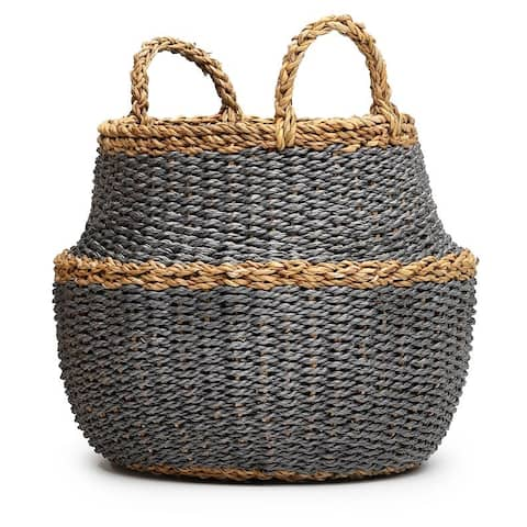 """The Curated Nomad Gallowridge Grey Handmade Storage Basket with Handles - 17"""" x 16"""""""