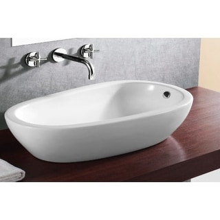 "Nameeks CA4082 Caracalla 18-1/3"" Ceramic Drop In Bathroom Sink with 1 Faucet Hole and Overflow"