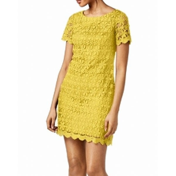 8ab52e9cc4b Shop Jessica Howard Yellow Womens Size 6 Crochet Floral Sheath Dress - On  Sale - Free Shipping On Orders Over $45 - Overstock - 27409209