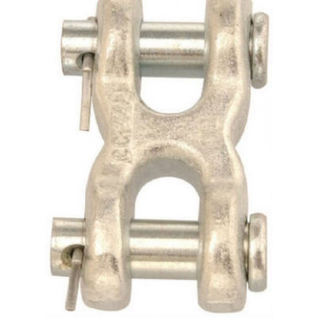 Campbell T5423300 Double Clevis Link, 1/4, Forged Steel, Zinc Plated