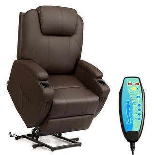 Costway Electric Lift Power Chair Recliner Heated Vibration Massage Sofa w/Remote Coffee