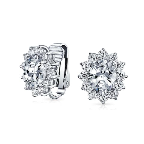 Oval Halo Crown CZ Stud Statement Prom Clip On Earring Silver Plated
