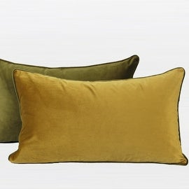 """G Home Collection Luxury Wasabi Green And Yellow Two Color Flannel Fabric Pillow 12""""X20"""""""