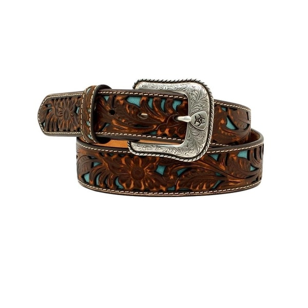 Ariat Western Belt Mens Leather Floral Emboss Turquoise Inset