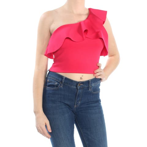 GUESS Womens Red Ruffled Asymmetrical Neckline Crop Top Top Size: M