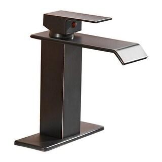DFI Waterfall Spout Single Handle One Hole Bathroom Sink Faucet Deck Mount Lavatory