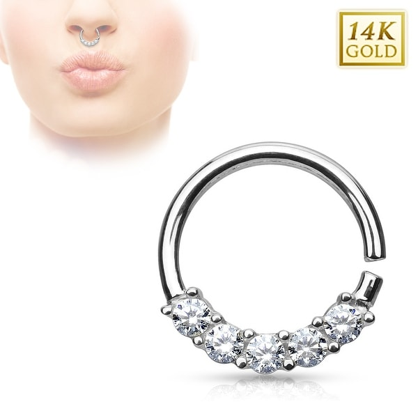 14Kt Gold Lined Prong CZs Bendable Round Septum Ring - 16GA (Sold Ind.)