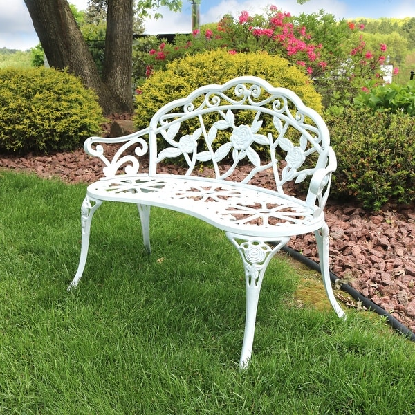 Sunnydaze 2-Person Classic Rose Cast Aluminum White Outdoor Garden Bench
