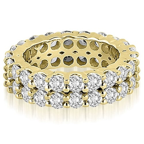 4.40 cttw. 14K Yellow Gold Round Diamond Two Row Eternity Ring