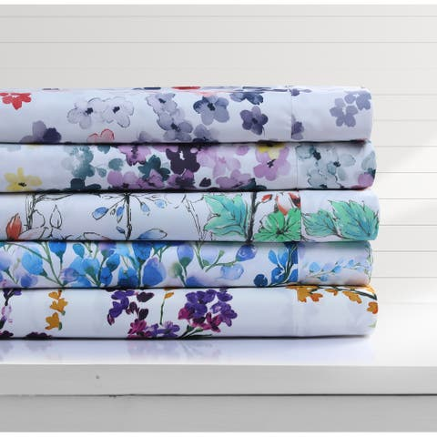 Floral Printed Deep Pocket Sheet Set with Oversized Flat