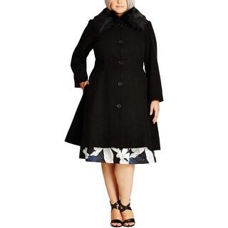 City Chic Womens Plus Coat Faux-Fur Button-Up