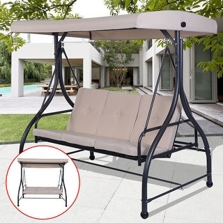 Delightful Costway Converting Outdoor Swing Canopy Hammock 3 Seats Patio Deck Furniture  Beige
