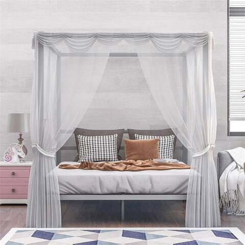 Merax Metal Framed Queen Size Canopy Four Poster Platform Bed Frame