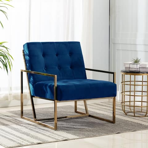 Ravia Velvet Upholstered Accent Chair with Gold Metal Frame