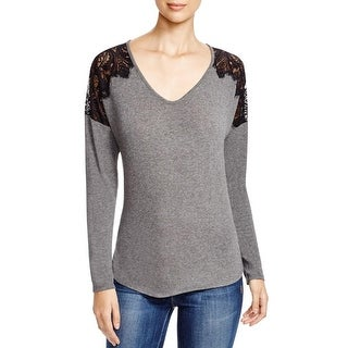 Red Haute Womens Pullover Top Scalloped Shoulder Lace