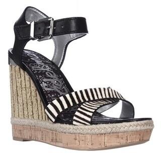 Sam Edelman Clay Wedge Ankle Strap Sandals - Black/Zebra